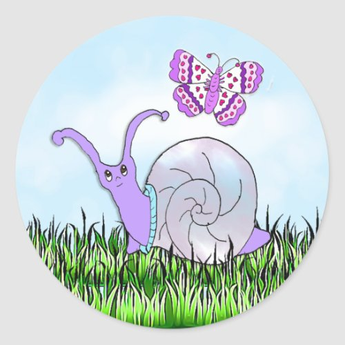 Cute Purple Snail and Butterfly Whimsical Classic Round Sticker