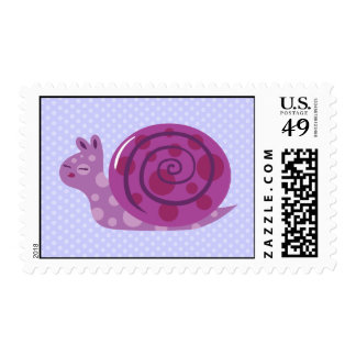 Cute Purple Snail Postage Stamps
