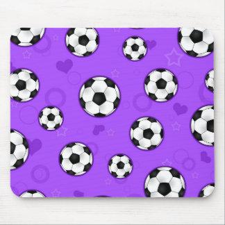 Cute Purple Soccer Star Print Mouse Pad