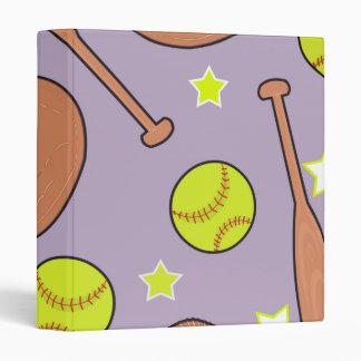 Cute Purple Softball Star Pattern 3 Ring Binder
