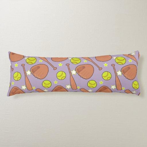 Cute Purple Softball Star Pattern Body Pillow Zazzle