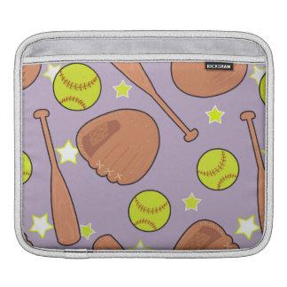 Cute Purple Softball Star Pattern iPad Sleeves