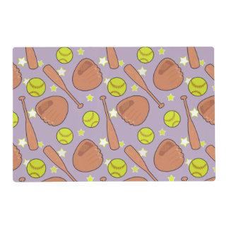 Cute Purple Softball Star Pattern Laminated Place Mat