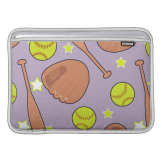 Cute Purple Softball Star Pattern MacBook Sleeves