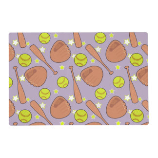 Cute Purple Softball Star Pattern Placemat