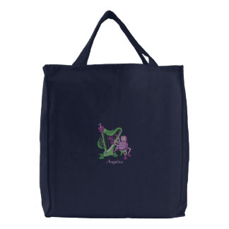 Cute Purple Spider Playing Flower Musical Harp Embroidered Tote Bag