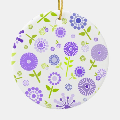 Cute purple spring flowers christmas ornament
