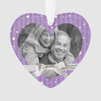 Cute purple Stripes  Photo in Heart Keepsake Ornament