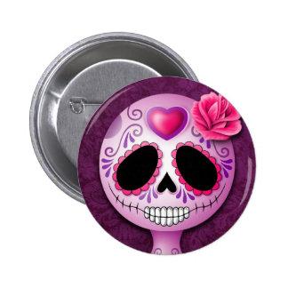 Cute Purple Sugar Skull Button