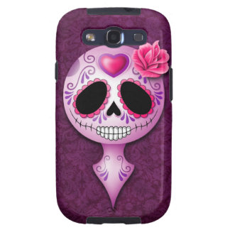 Cute Purple Sugar Skull Galaxy S3 Case