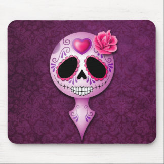Cute Purple Sugar Skull Mouse Pads