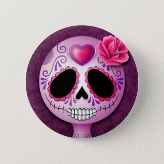 Cute Purple Sugar Skull Pinback Button