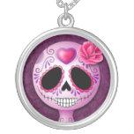 Cute Purple Sugar Skull Round Pendant Necklace