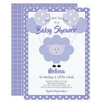 Cute Purple Sweet Lamb, Simple Modern Baby Shower Invitation