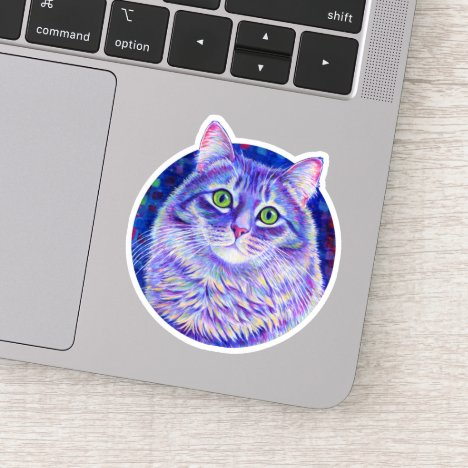 Cute Purple Tabby Cat Vinyl Sticker