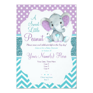 Cute Purple Teal Elephant Baby Shower Invitation