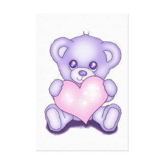 Cute Purple Teddy Bear Canvas Print