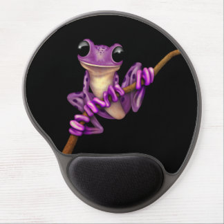 Cute Purple Tree Frog on a Branch on Black Gel Mouse Pad