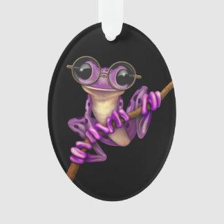 Cute Purple Tree Frog with Eye Glasses on Black Ornament