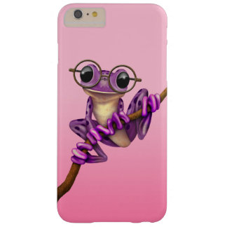 Cute Purple Tree Frog with Eye Glasses on Pink Barely There iPhone 6 Plus Case