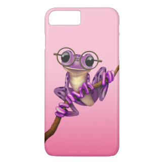 Cute Purple Tree Frog with Eye Glasses on Pink iPhone 7 Plus Case