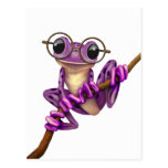 Cute Purple Tree Frog with Eye Glasses on White Post Card