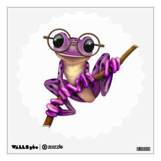 Cute Purple Tree Frog with Eye Glasses on White Wall Sticker
