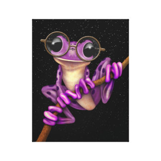 Cute Purple Tree Frog with Eye Glasses with Stars Canvas Print