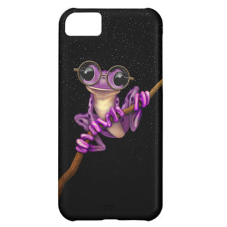 Cute Purple Tree Frog with Eye Glasses with Stars Case For iPhone 5C