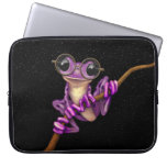 Cute Purple Tree Frog with Eye Glasses with Stars Computer Sleeve