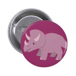 Cute Purple Triceratops (baby Torosaurus) 2 Inch Round Button