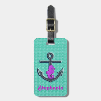 Cute Purple & Turquoise Seahorse Anchor Monogram Bag Tag