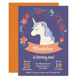 Cute purple unicorn floral birthday invitation