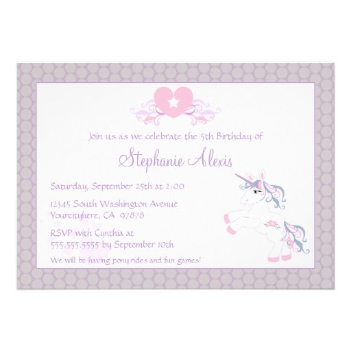 Cute purple unicorn pony birthday party invitation