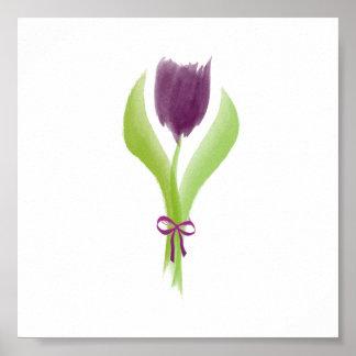 Cute Purple Watercolor Spring Tulip Poster
