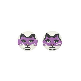 CUTE PURPLE & WHITE CAT EARRINGS