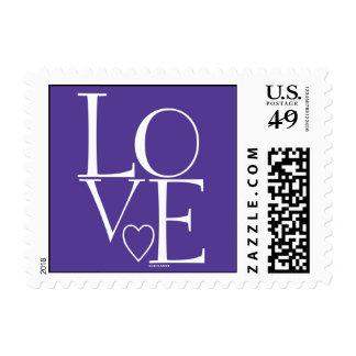 Cute Purple White Modern Love Postage