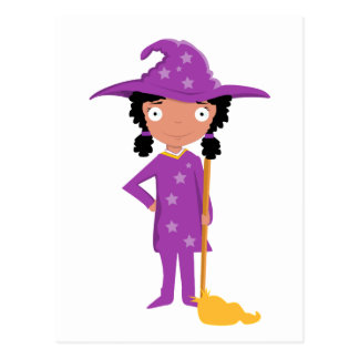 Cute purple witch postcard