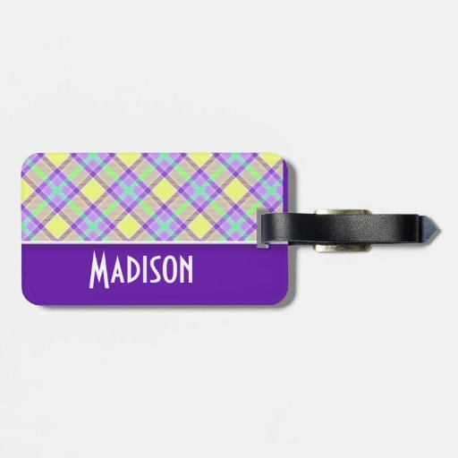 Cute Purple & Yellow Plaid Tags For Bags