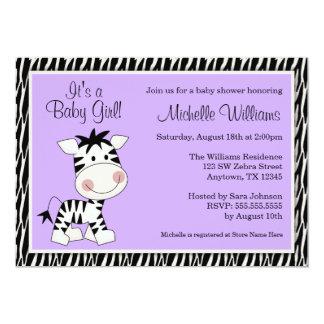 Cute Purple Zebra Girl Baby Shower Card