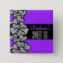 Cute Purple zebra heart Sweet 16 Birthday Button