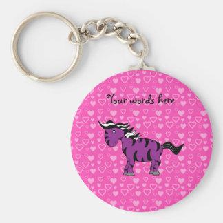 Cute purple zebra pink hearts keychain