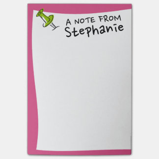 Cute Push Pin Custom Name Hot Pink and Green Post-it® Notes