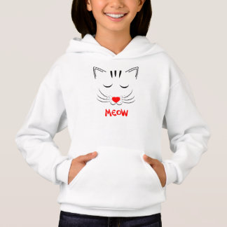 Cute Pussy Cat Face Meow Drawing Hoodie