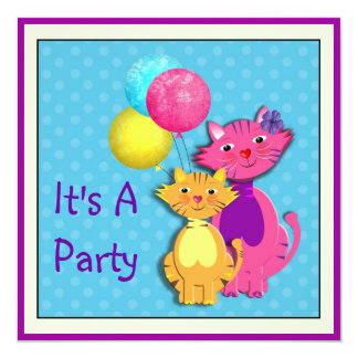 Cute Pussy Cats Themed Party Invitation