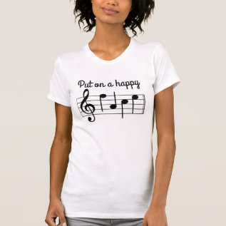 Cute Put on a Happy Face Music Notes T-Shirt at Zazzle
