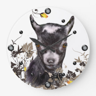 Cute Pygmy Goat Painting Floral  Wall Clock