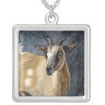 Cute Pygmy Goat Watercolor Artwork Square Pendant Necklace
