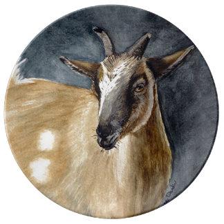 Cute Pygmy Goat Watercolor Artwork Plate