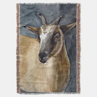 Cute Pygmy Goat Watercolor Artwork Throw Blanket